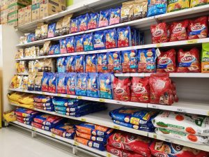 Photo of pet food in a store