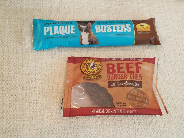 Photo of Happy Howie's Beef Burger Chew and Caledon Farms Plaque Busters sent by BarkBox