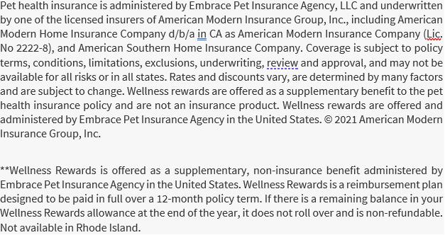 Disclaimer for Embrace Pet Insurance