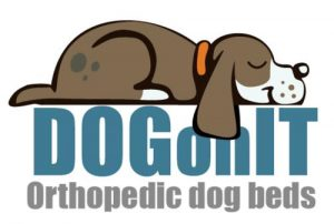 Grey dog resting on logo for DOGonIT orthopedic dog beds