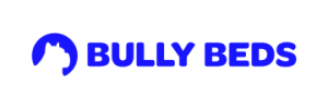 Bully Beds logo with outline of dog on left
