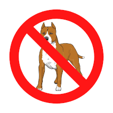 Red slash through drawing of pitbull representing breed restrictions