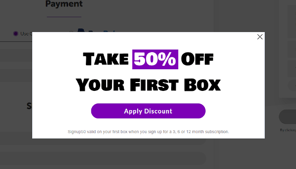 Popup coupon code for PupBox