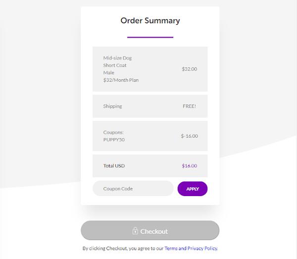 Checkout Box to enter PupBox coupon code