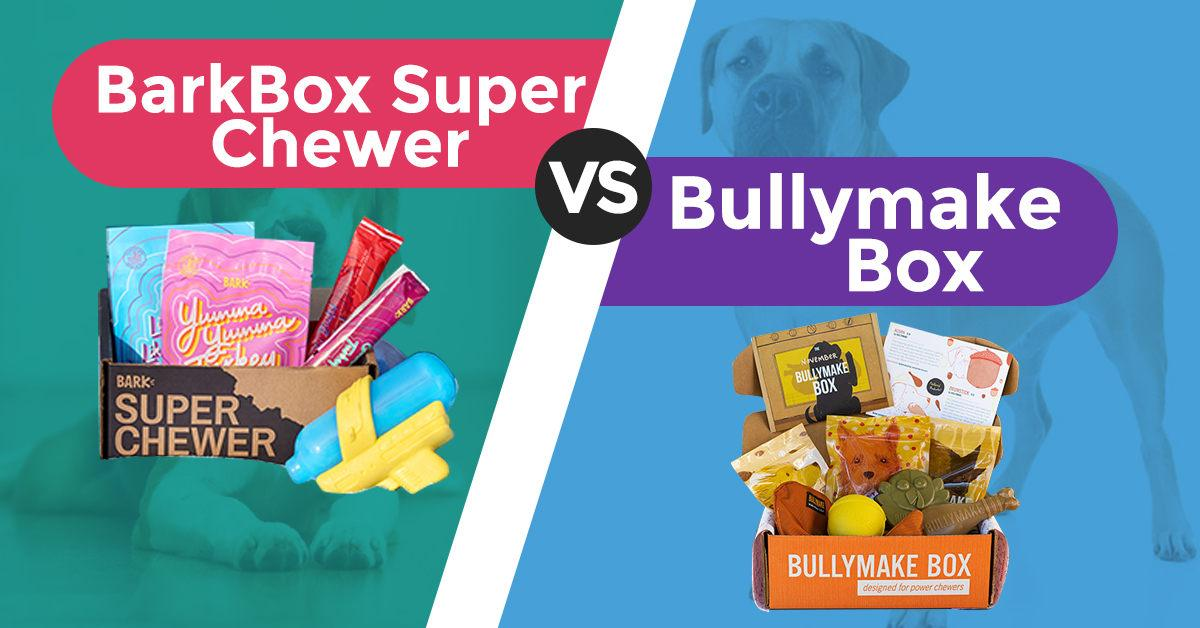 BarkBox Super Chewer vs. Bullymake Box image with each open box beside each other