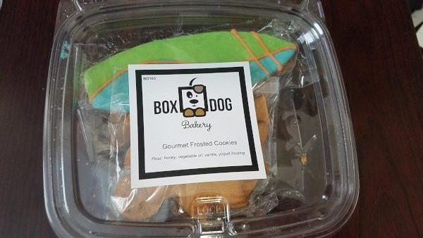 Handmade BoxDog cookies in a box