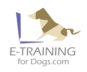 E-Training for Dogs logo next to drawing of dog using computer