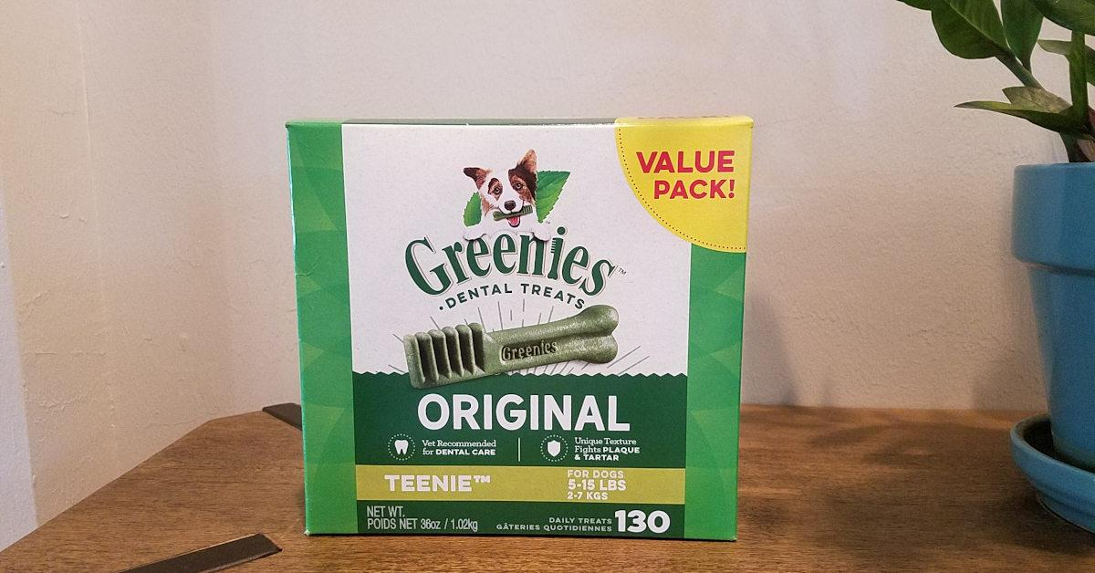 Box of Greenies Treats for Dogs sitting on table
