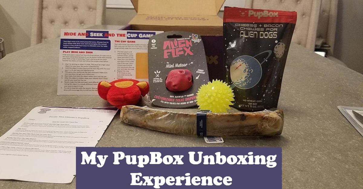 PupBox unboxing with toys, chew, and treats on a table