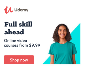 Udemy logo next to offer for online video courses