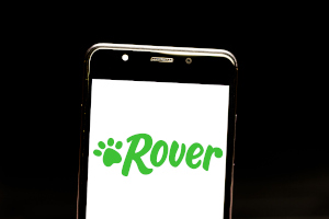 Cell phone showing logo for Rover