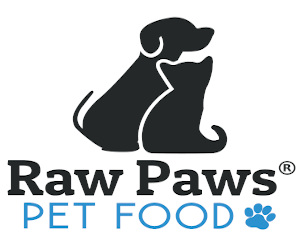 Raw Paws Pet Food logo with dog and cat