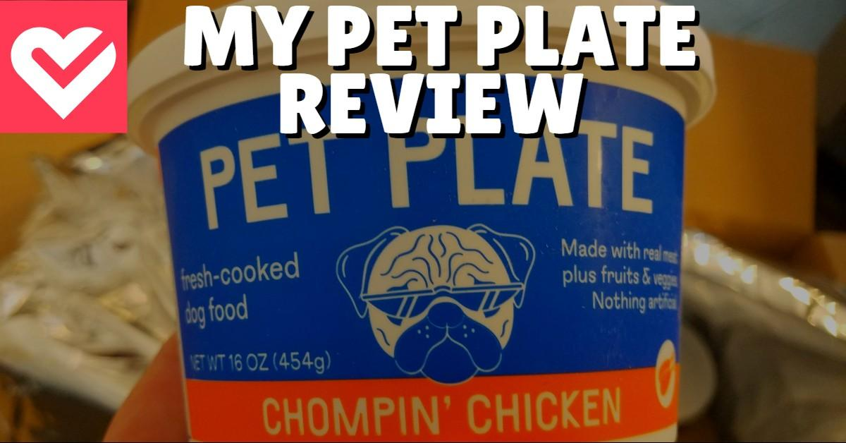 Text stating 'My Pet Plate Review' with unopened container