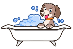Dog comfortable and happy in bath tub
