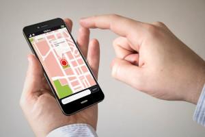 Man using GPS on phone