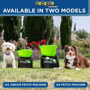 Two Dogs with two types of GoDogGo Fetch Machine