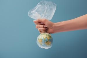 Globe in a biodegradable plastic bag