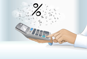 Photo of person typing in calculator