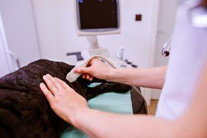 dog having ultrasound in veterinary clinic